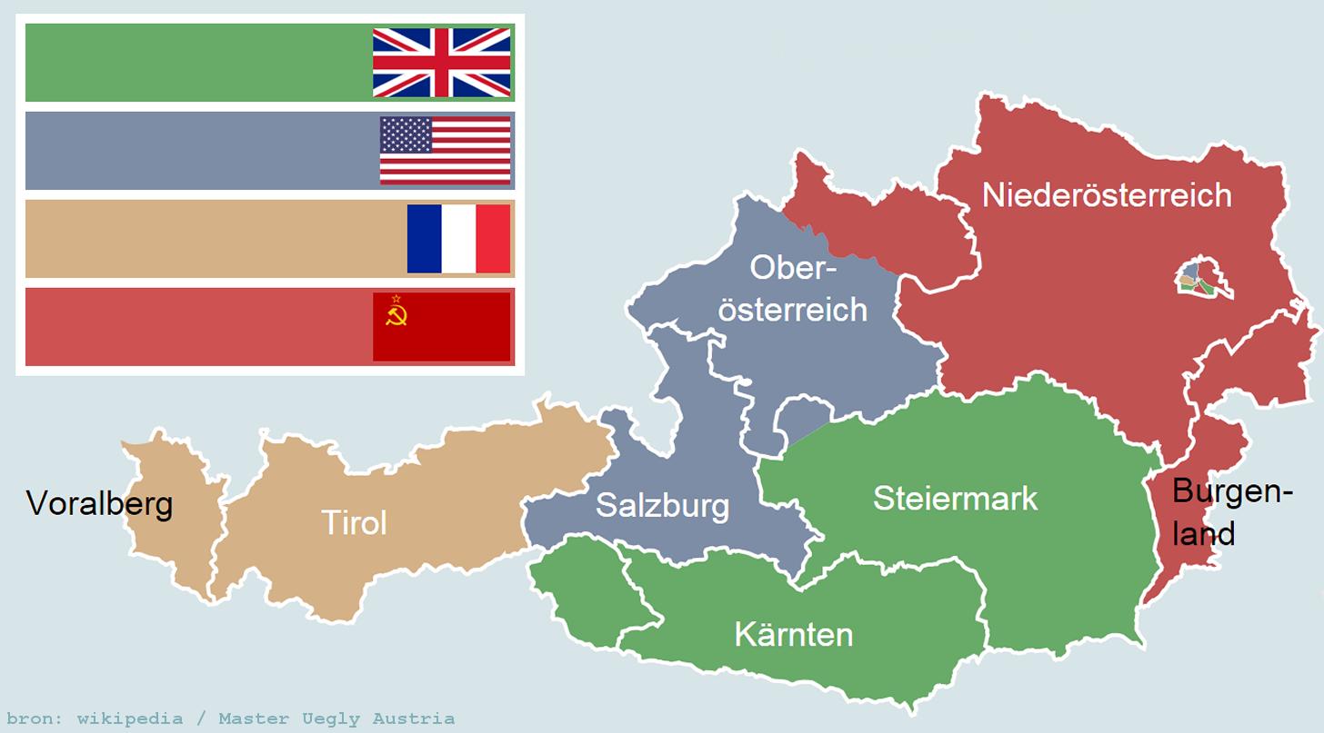 De verdeling van Oostenrijk na de Tweede Wereldoorlog