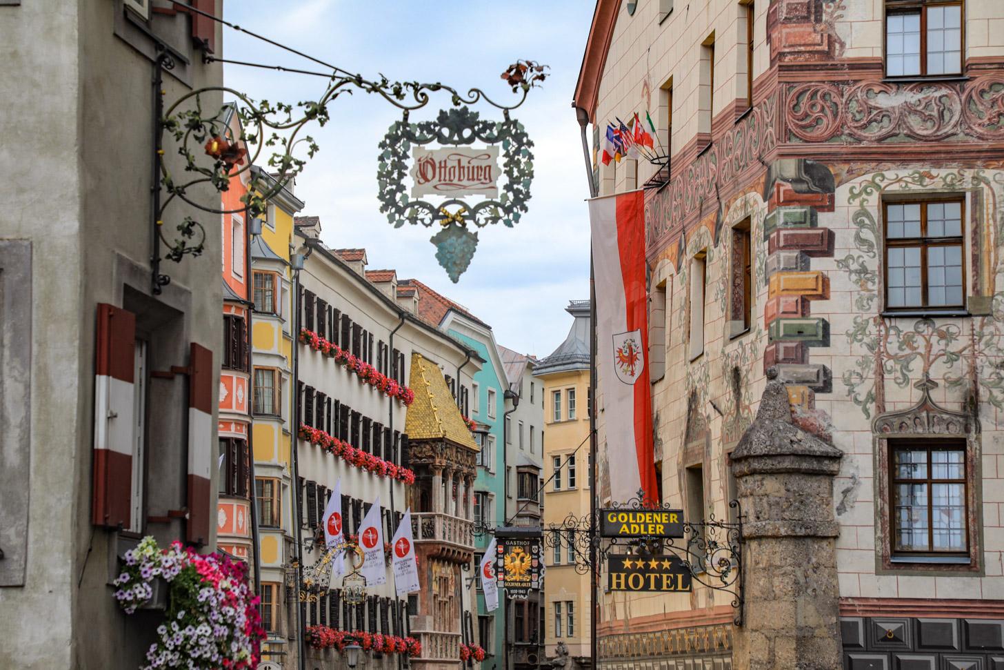 Historische gevels in het hart van Innsbruck